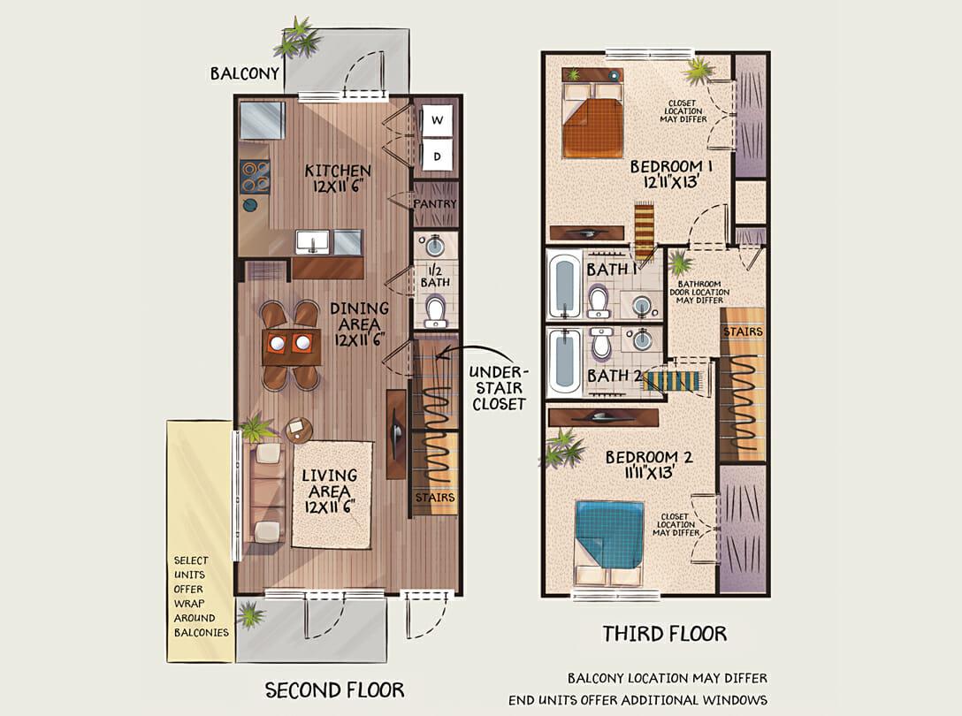 Townhouse style apartments available near the new wegman's