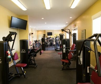 Abundant exercise machines and equipment at Woodlands of Charlottesville apartments