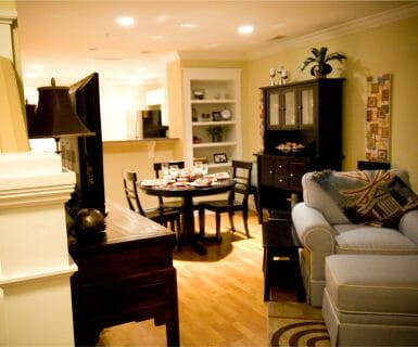 Versatile and comfortable living areas at Woodlands of Charlottesville luxury rental apartments