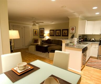 Open flowing floorplans at Woodlands of Charlottesville upscale apartment rentals