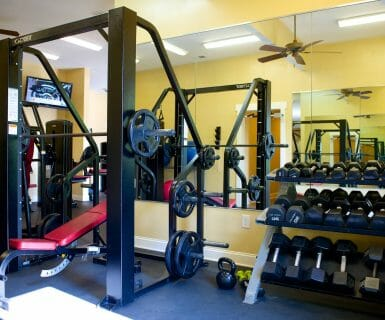 The gym at Woodlands of Charlottesville - luxury apartments for rent
