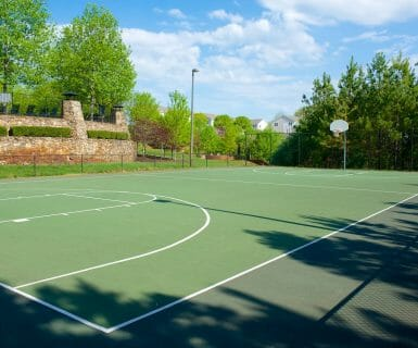 Full-size basketball court at Woodlands of Charlottesville luxury apartments