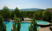 3-tier resort style swimming pool at Woodlands of Charlottesville luxury apartments for lease
