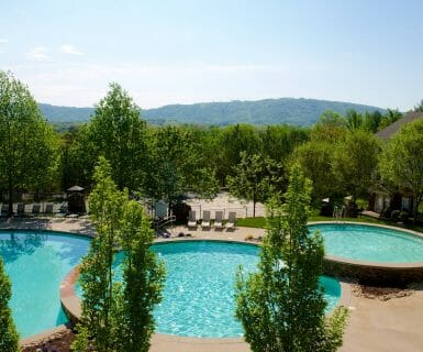 Relax at the woodlands of charlottesville clubhouse with these amazing views of the blue ridge mountains.